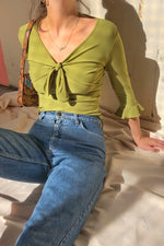 VintageTie Front Top in Olive Green - Dirty Disco