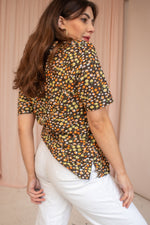 VintageDitsy Rose Print Top in Brown - Dirty Disco