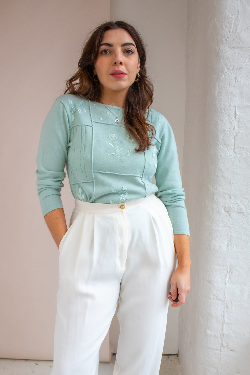 VintageEmbroidered Jumper in Mint - Dirty Disco