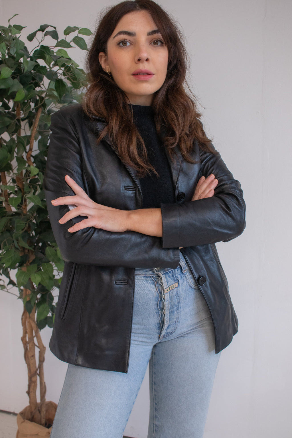 VintageLeather Boxy Blazer in Black - Dirty Disco