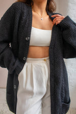 VintageOversized Cardigan in Charcoal Grey - L - Dirty Disco