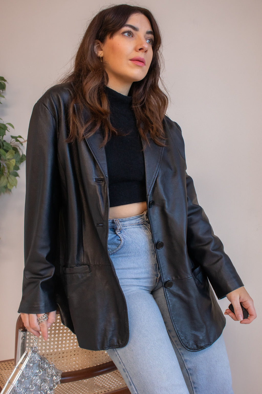 VintageOversized Leather Blazer in Black - M - Dirty Disco