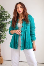 VintageOversized Cardigan in Teal Fleck - Dirty Disco