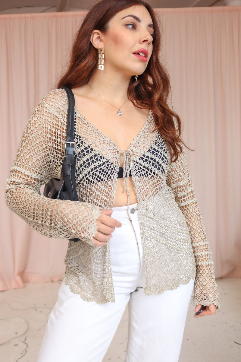 VintageCrochet Cardigan in Gold - Dirty Disco