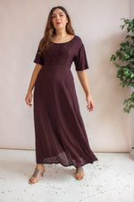 VintageEmbroidered Maxi Dress in Maroon - Dirty Disco
