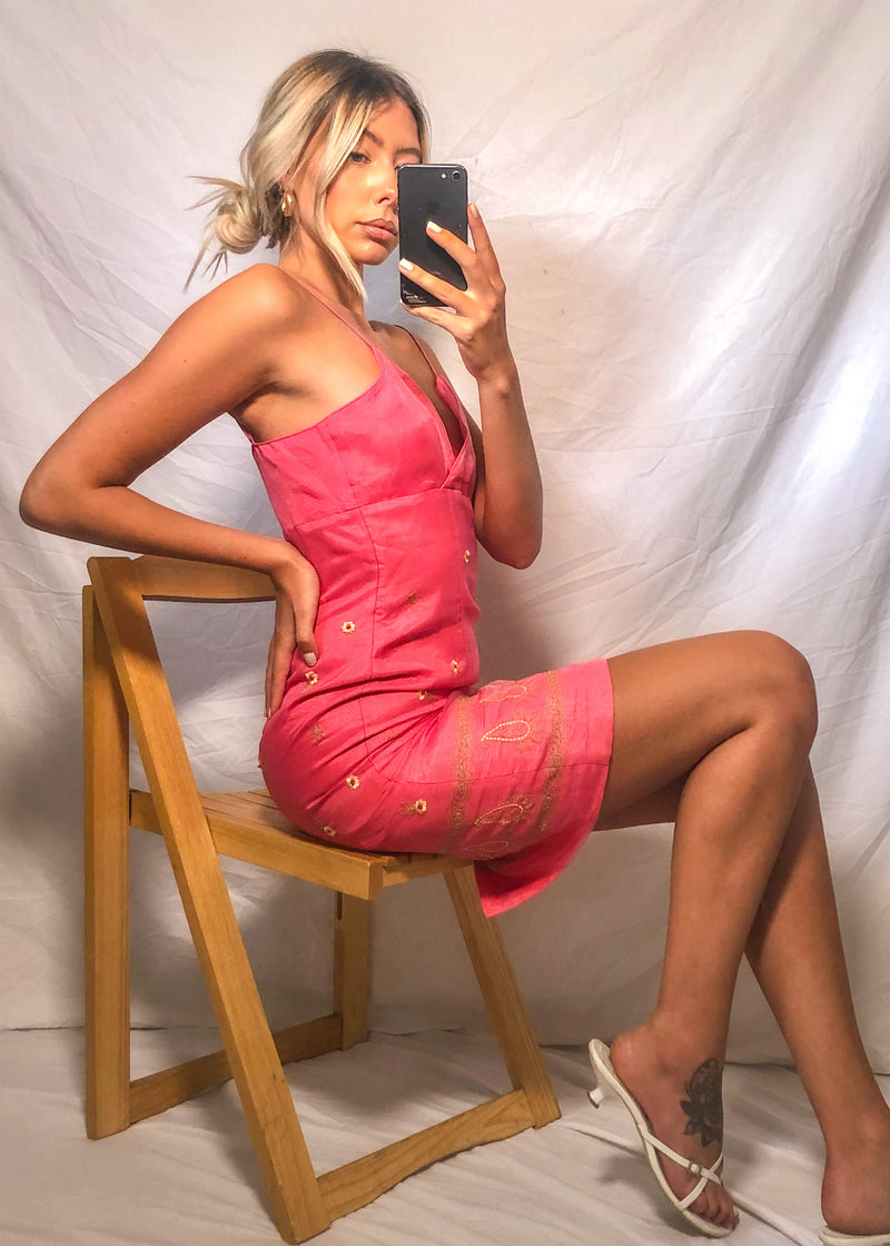 VintageEmbroidered Mini Dress in Pink - Dirty Disco