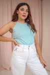 VintageHalter Neck Silk Knit Top in Turquoise - Dirty Disco