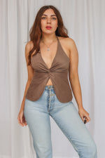 VintageHalter Neck Top in Brown Faux Suede - Dirty Disco