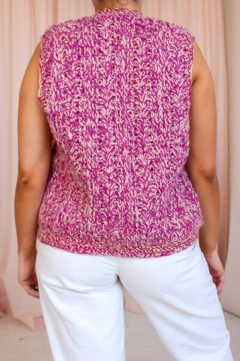 VintageHand Knitted Sweater Vest in Pink Fleck - Dirty Disco
