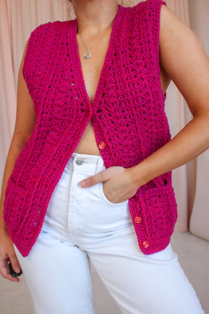 VintageHand Knitted Waistcoat in Pink - Dirty Disco