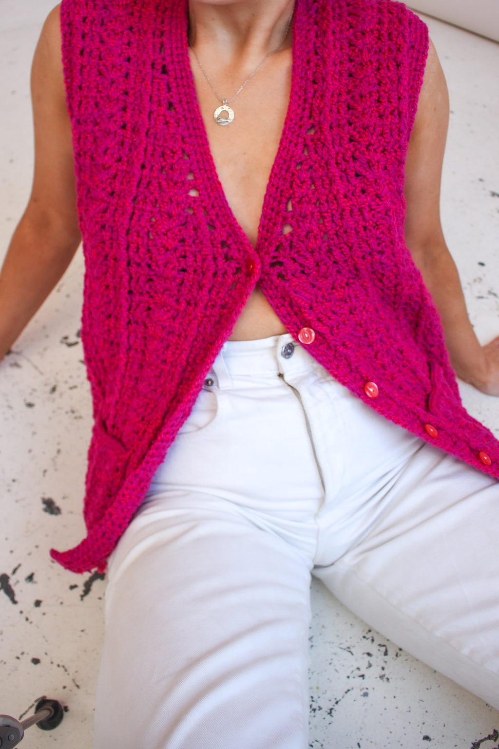 VintageHand Knitted Sweater Vest in Pink - Dirty Disco