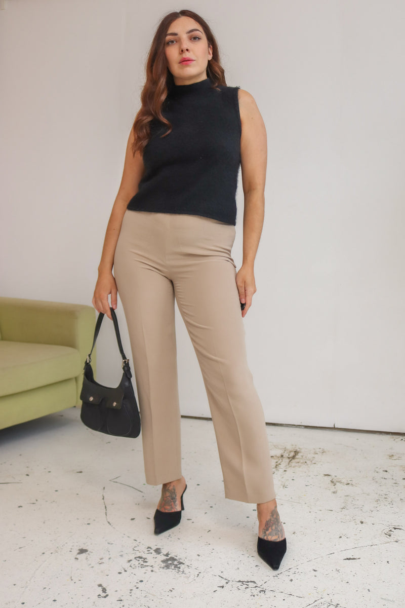 VintageHigh Waisted Silk Trousers in Stone - Dirty Disco