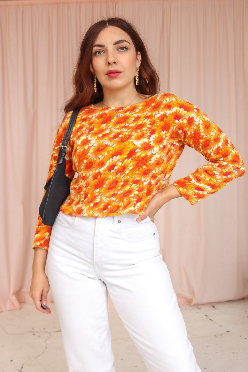 VintageJumper in Orange Daisy Print - Dirty Disco