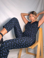 VintageJumpsuit in Black Squiggle Print - Dirty Disco
