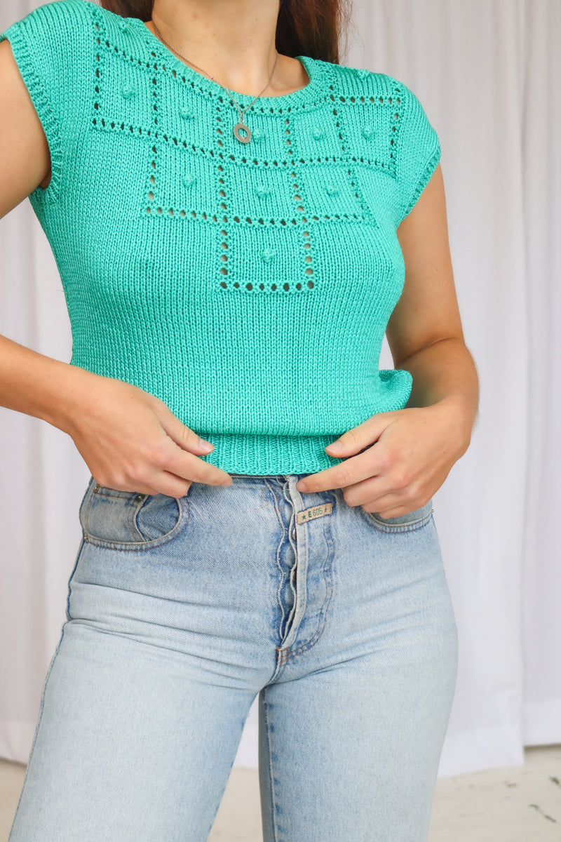 VintageKnit Top in Turquoise - Dirty Disco