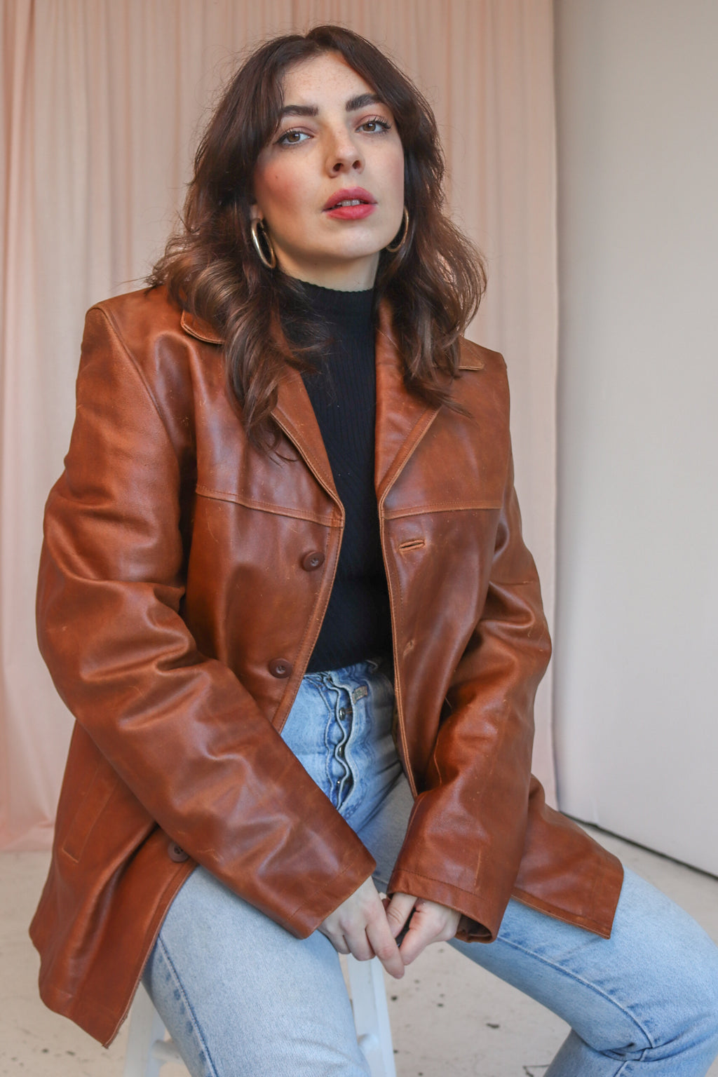VintageLeather Jacket in Brown - M - Dirty Disco