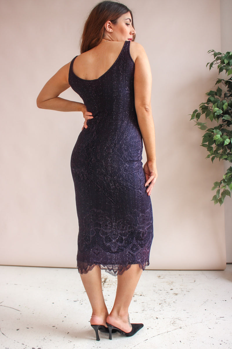 VintageMaxi Dress in Purple Crochet - Dirty Disco