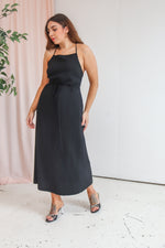 VintageMidi Wrap Dress in Black - Dirty Disco