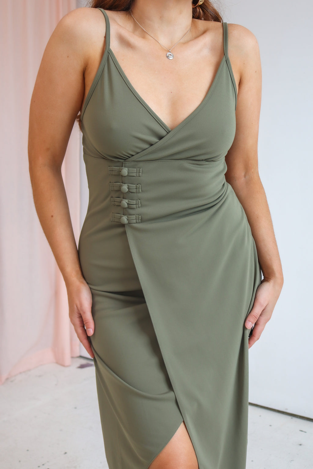 VintageMidi Wrap Dress in Khaki Green - Dirty Disco