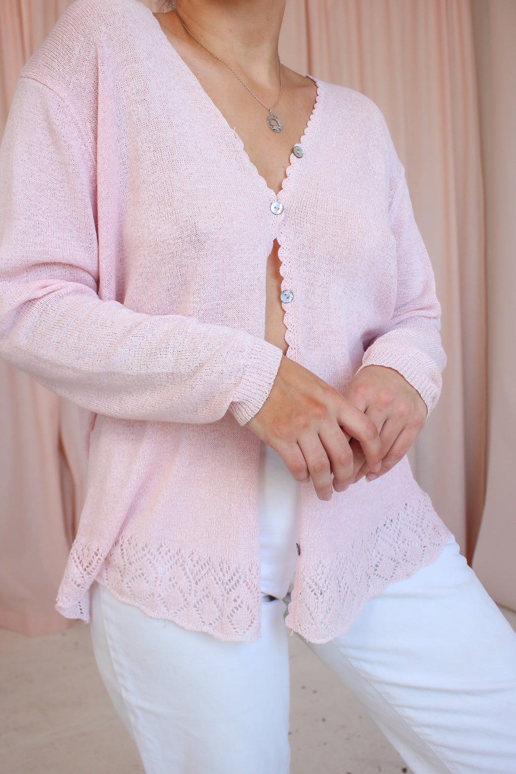 VintageOversized Cardigan in Pink - Dirty Disco
