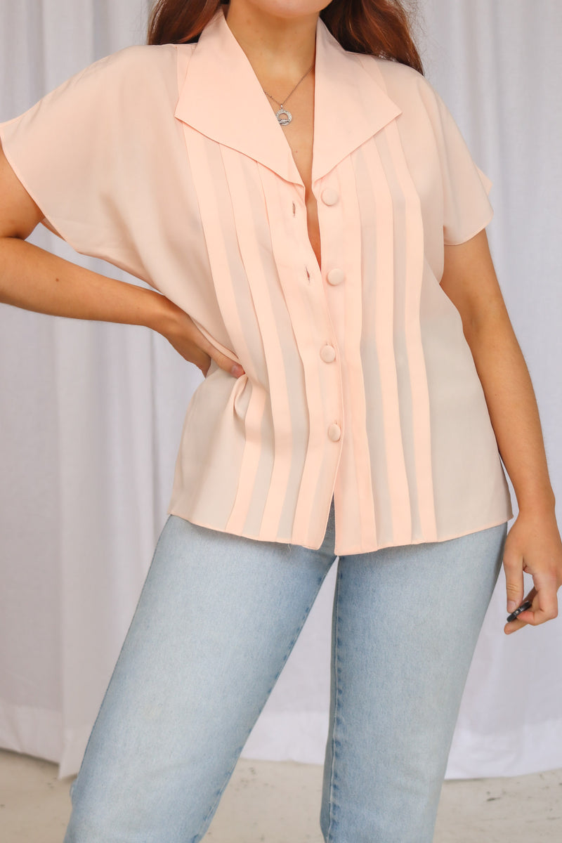 VintagePleated Blouse in Peach - Dirty Disco