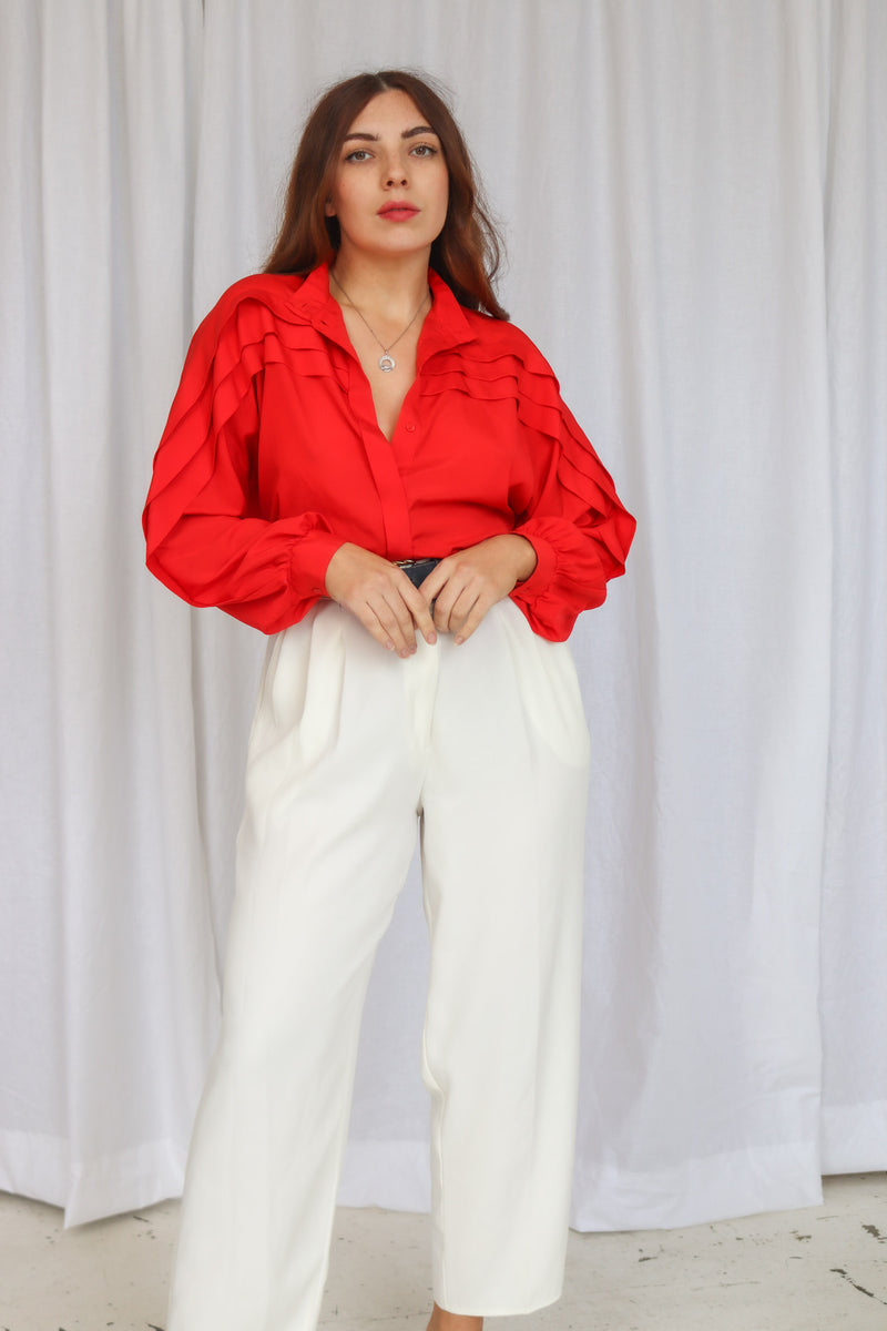 VintagePleated Blouse in Red - Dirty Disco