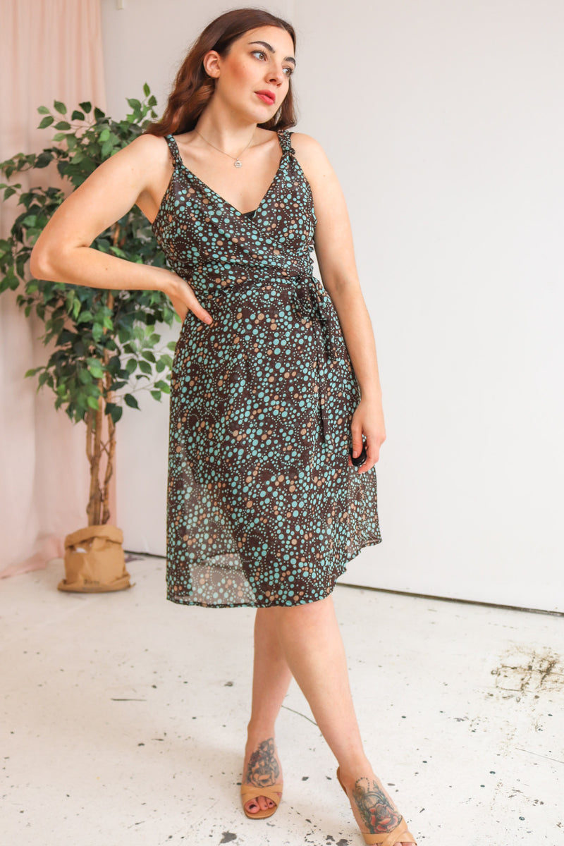 VintageSheer Wrap Dress in Spotty Print - Dirty Disco