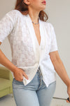 VintageShort Sleeve Cardigan in White - Dirty Disco