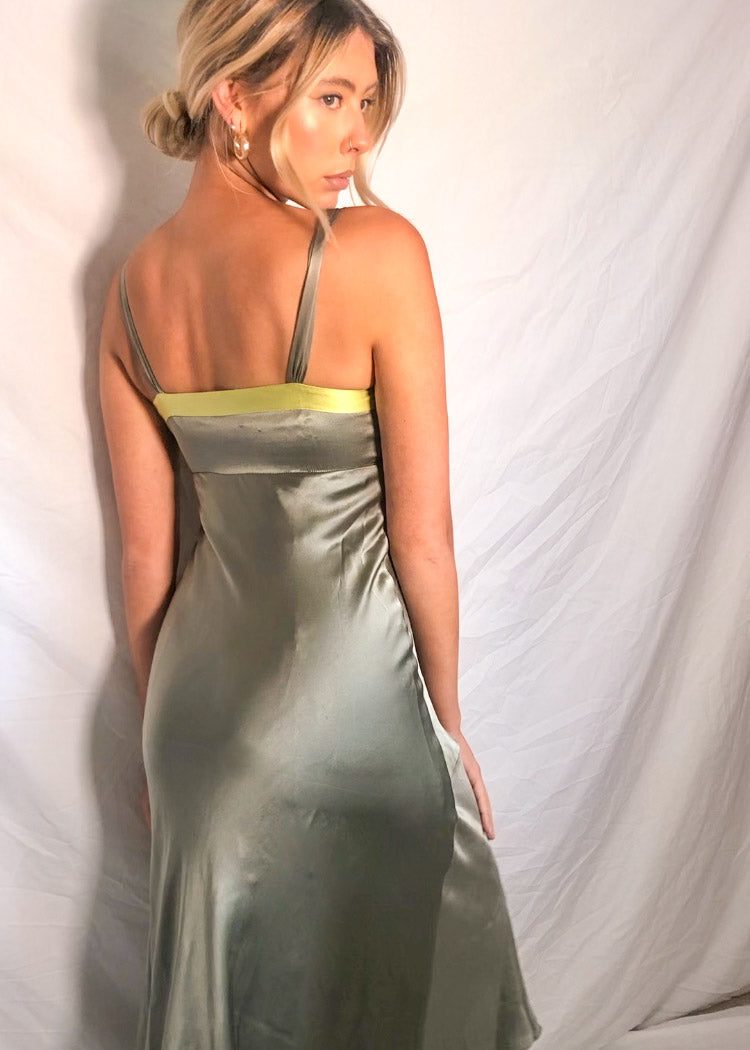 VintageSilk Midi Dress in Sage Green - Dirty Disco