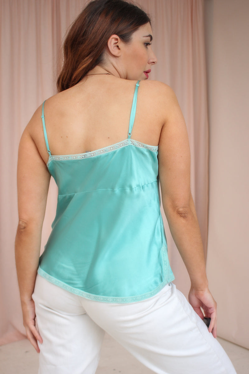 VintageSatin Silk Cami Top in Turquoise - Dirty Disco
