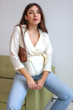 VintageSilk Wrap Blouse in Ivory - Dirty Disco