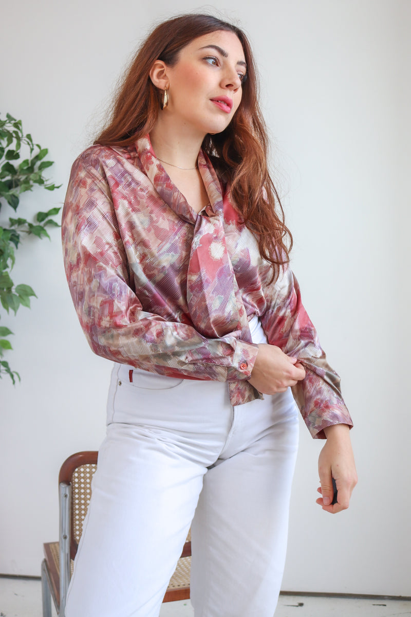 VintageTie Neck Blouse in Abstract Floral Print - Dirty Disco