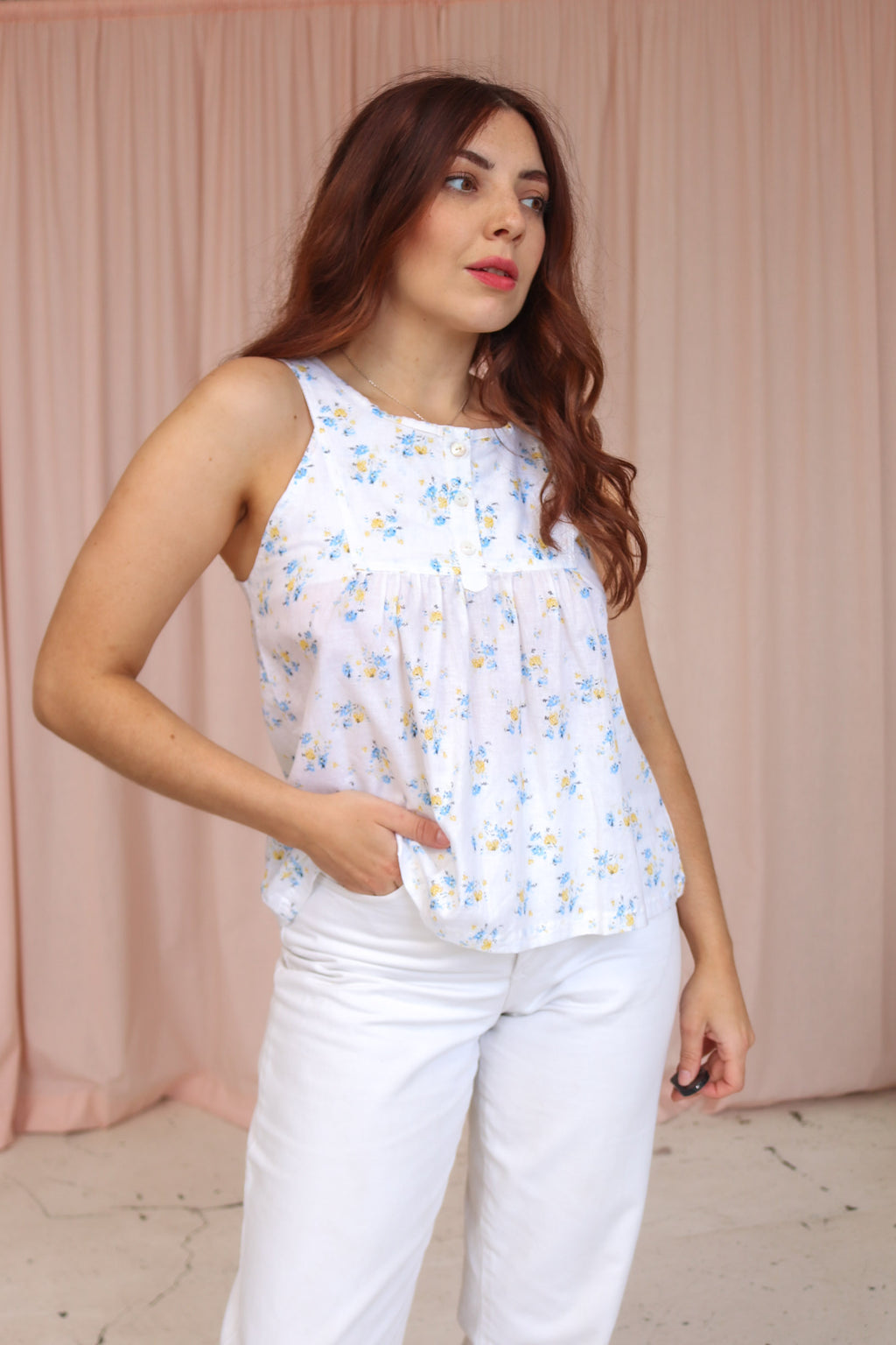 VintageTrapeze Top in White Floral Print - Dirty Disco