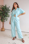VintageTwo Piece Trouser Suit in Sky Blue - Dirty Disco
