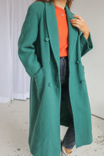 VintageWool Coat in Emerald Green - Dirty Disco