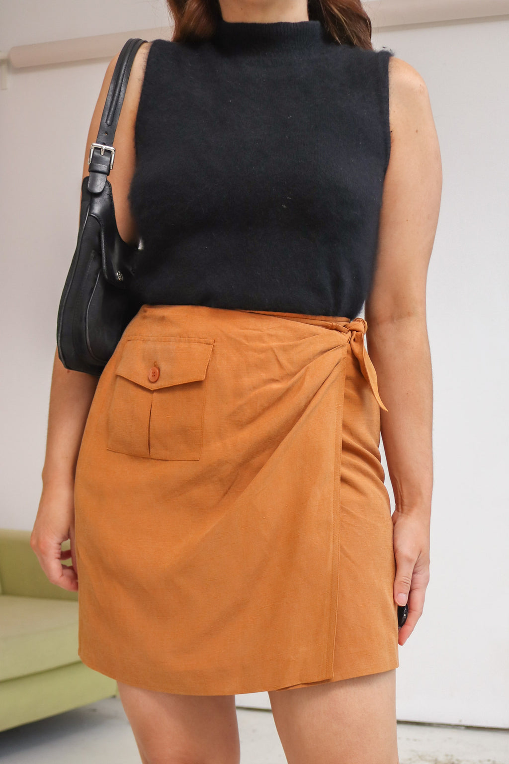 VintageWrap Skirt in Rust Silk - Dirty Disco