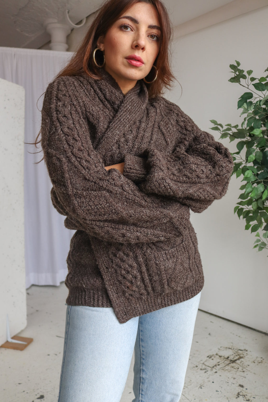 VintageHand-Knitted Aran Knit Cardigan in Brown - Dirty Disco