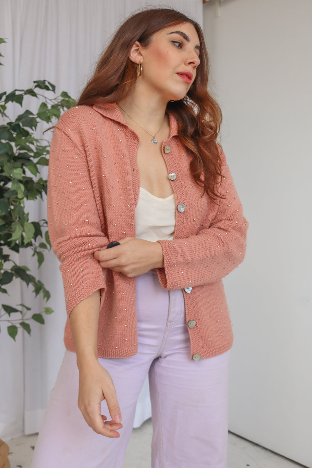 VintageHand knitted Beaded Cardigan in Salmon Pink - Dirty Disco