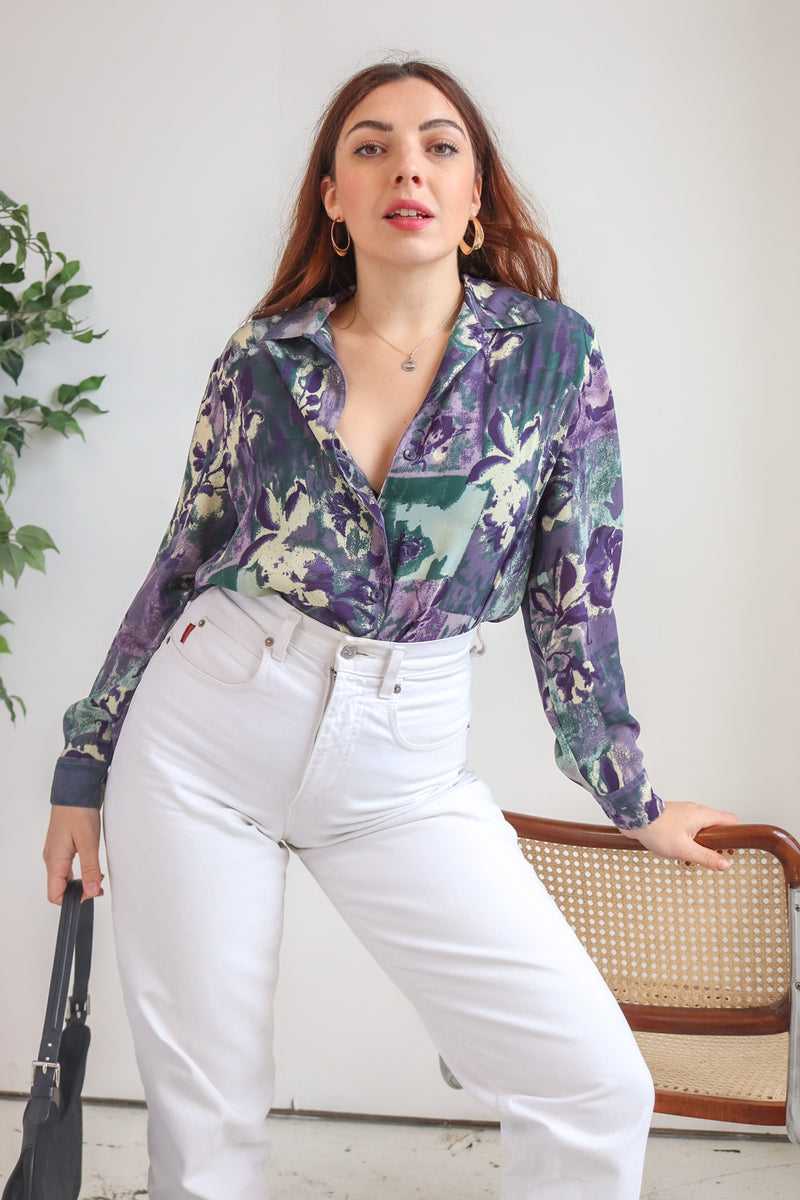 VintageBlouse in Purple Floral Print - Dirty Disco
