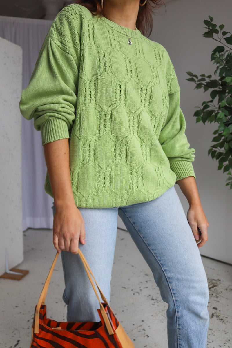 VintageCable Knit Jumper in Lime Green - Dirty Disco