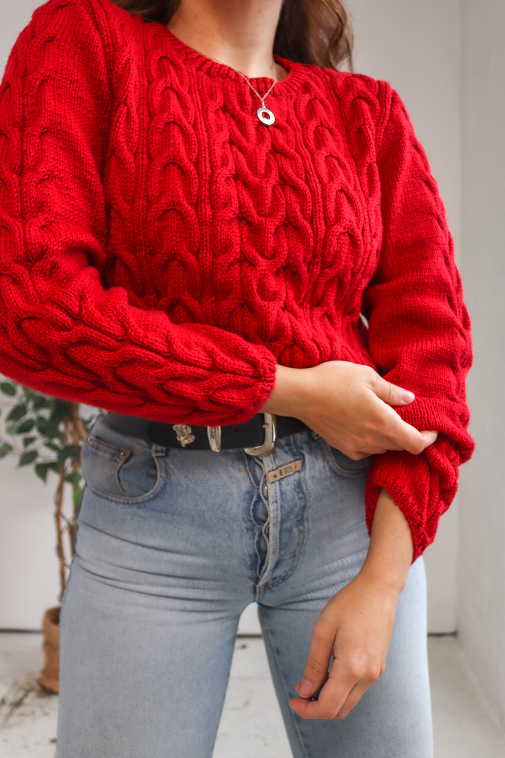 VintageCable Knit Jumper in Red - Dirty Disco