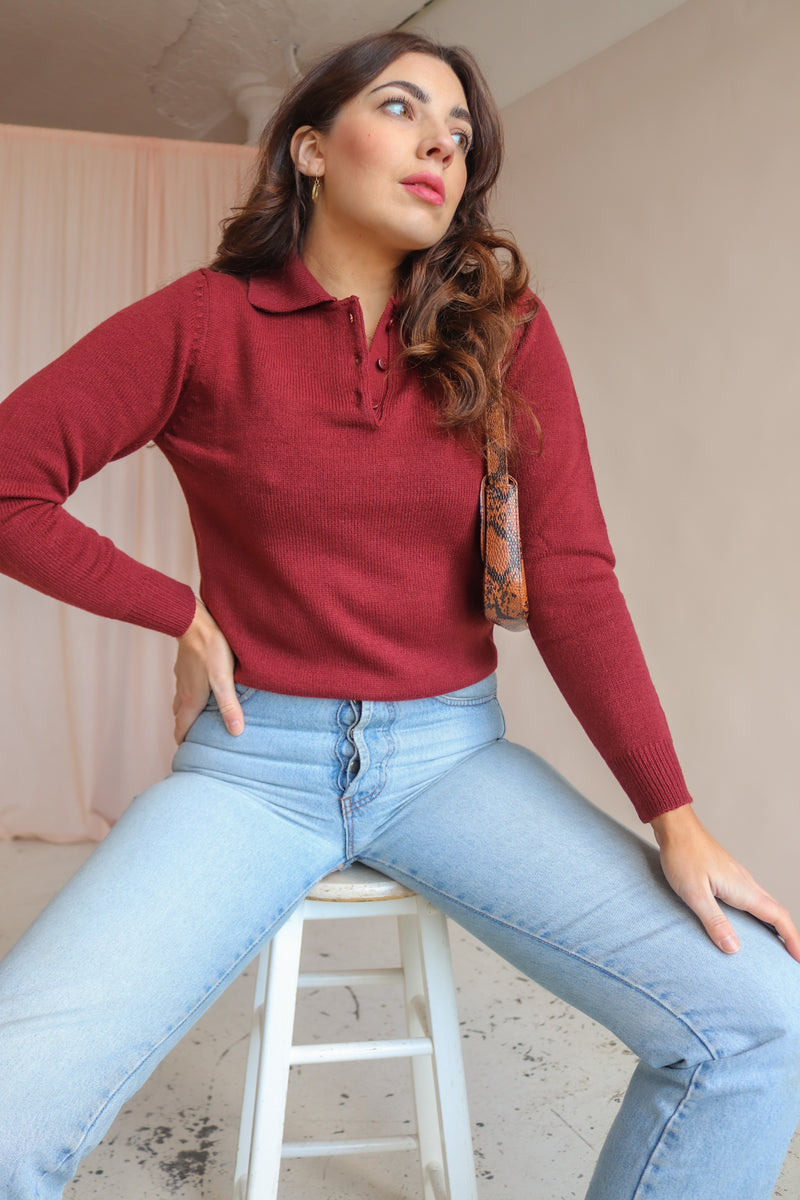 Collared Jumper in Burgundy - XS