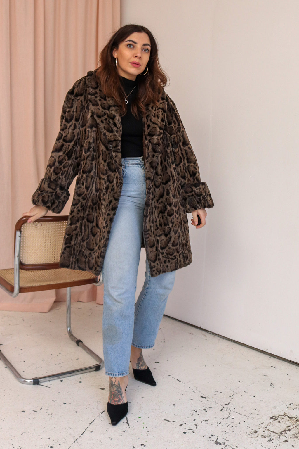 VintageFaux Fur Coat in Leopard Print - M - Dirty Disco