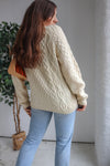 VintageHandknitted Fisherman Aran Knit Jumper in Cream - Dirty Disco