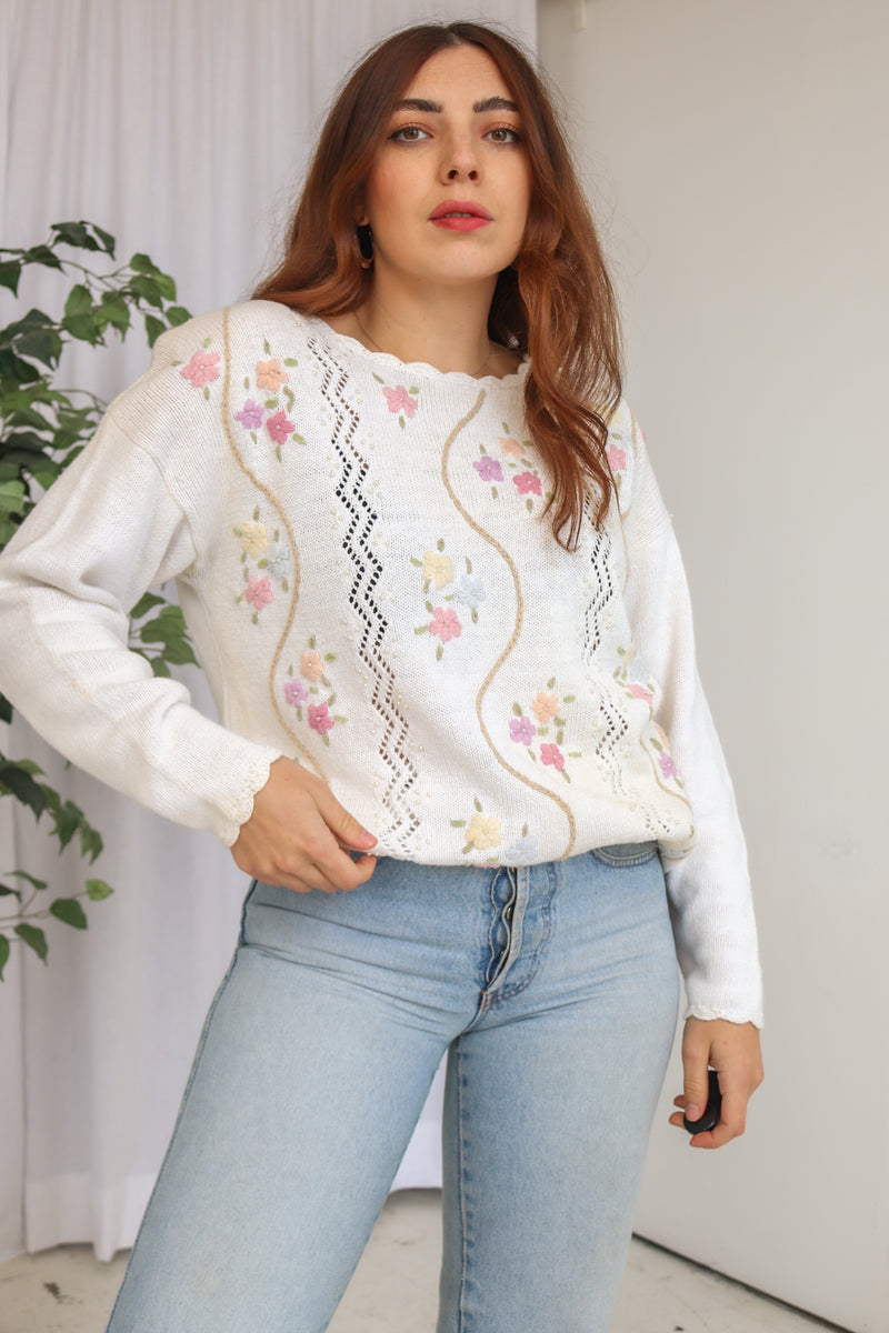 VintageFloral Embroidered Jumper in White - Dirty Disco