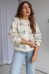 VintageFloral Pattern Cardigan in Ivory - M - Dirty Disco