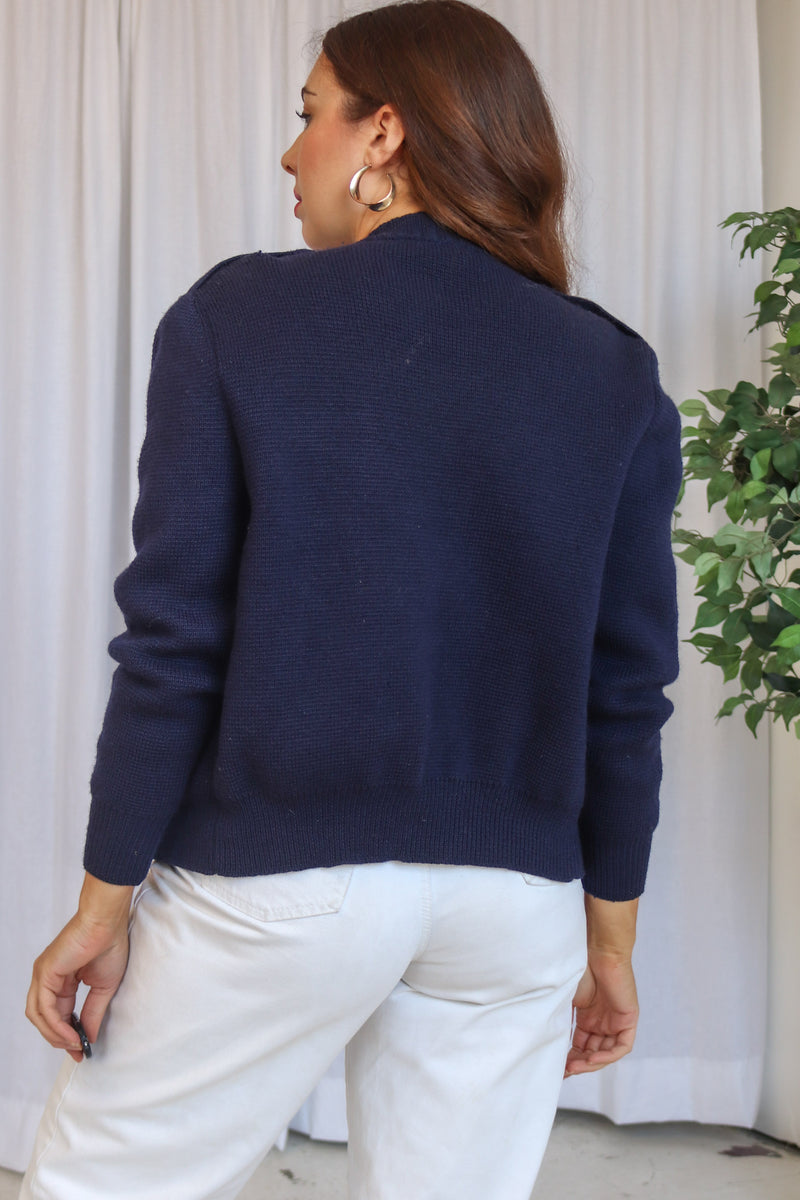 VintageHeavyweight Cardigan in Navy - Dirty Disco
