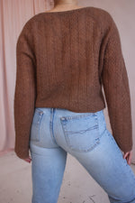 VintageHoley Knit Cardigan in Hazelnut - Dirty Disco
