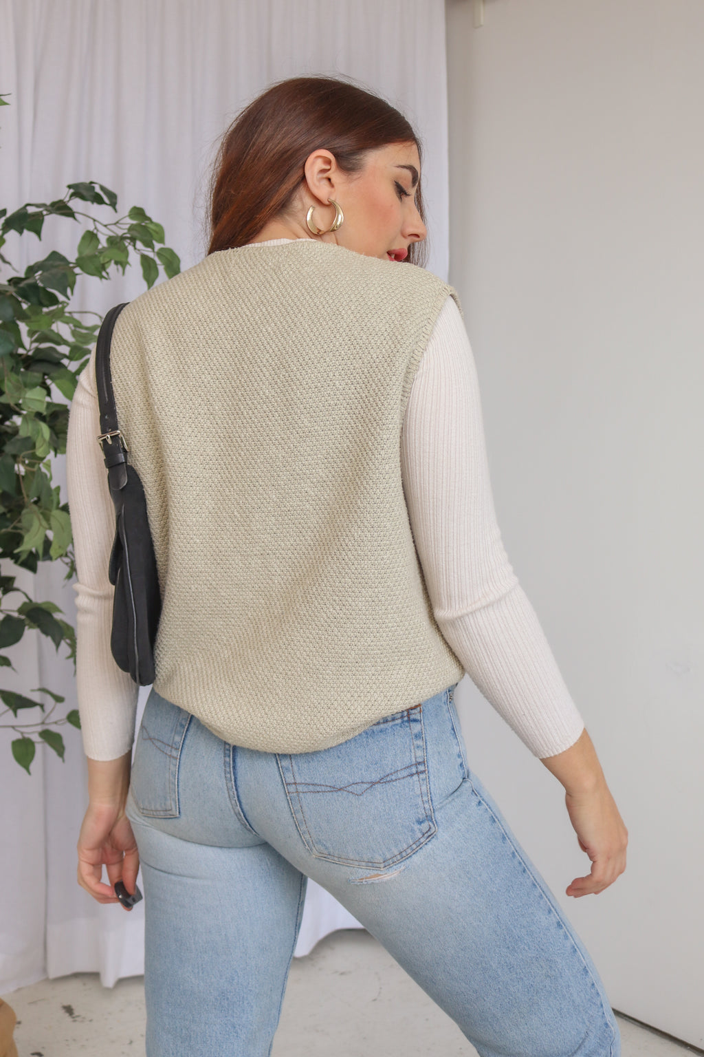 VintageKnitted Sweater Vest in Sage Green - Dirty Disco