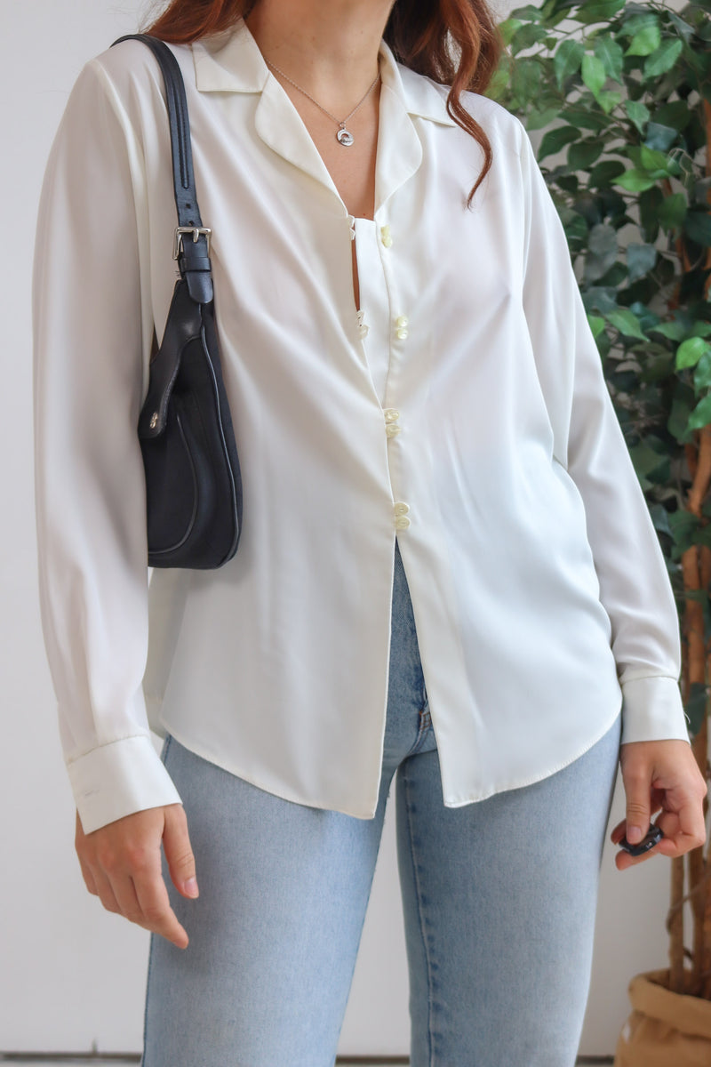 VintageLong Sleeve Blouse in Ivory - Dirty Disco